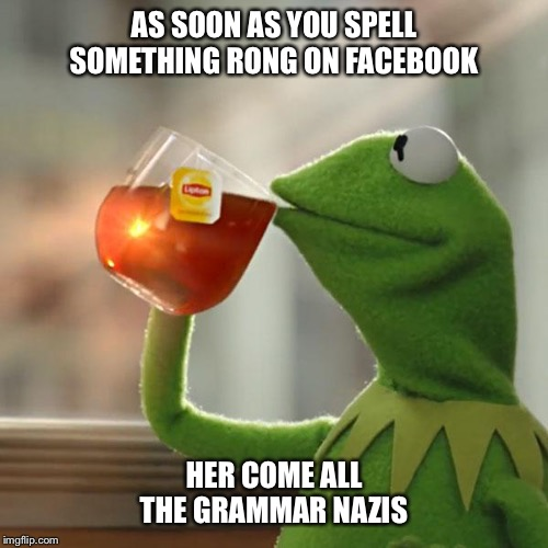 But Thats None Of My Business | AS SOON AS YOU SPELL SOMETHING RONG ON FACEBOOK HER COME ALL THE GRAMMAR NAZIS | image tagged in memes,but thats none of my business,kermit the frog,grammar nazi,grammar,funny | made w/ Imgflip meme maker