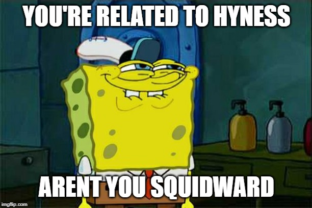 YOU'RE RELATED TO HYNESS ARENT YOU SQUIDWARD | image tagged in memes,dont you squidward | made w/ Imgflip meme maker
