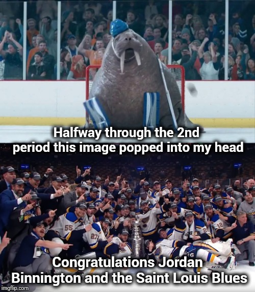 Stanley Cup Champions 2019 |  Halfway through the 2nd period this image popped into my head; Congratulations Jordan Binnington and the Saint Louis Blues | image tagged in hockey baby,champions,stanley cup,blues,nhl,its finally over | made w/ Imgflip meme maker