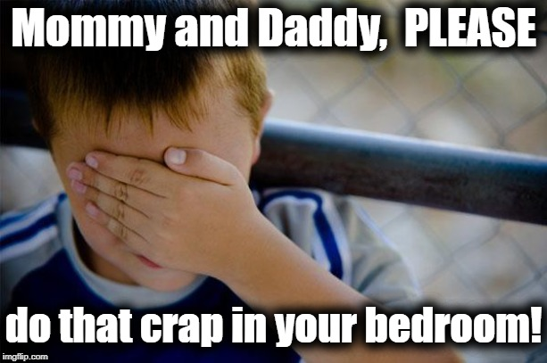 Ugh! | Mommy and Daddy,  PLEASE do that crap in your bedroom! | image tagged in memes,confession kid | made w/ Imgflip meme maker