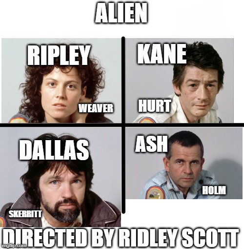 Alien Cast | ALIEN DIRECTED BY RIDLEY SCOTT RIPLEY KANE DALLAS ASH WEAVER HURT SKERRITT HOLM | image tagged in memes,blank starter pack,ripley,kane,ash,dallas | made w/ Imgflip meme maker