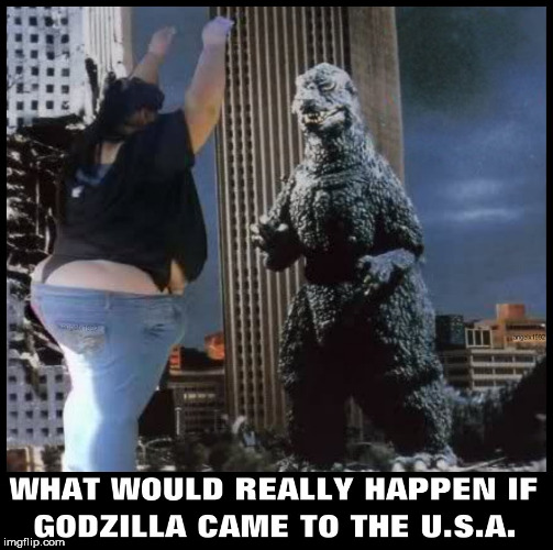 image tagged in godzilla,japan,usa,monsters,fight,fat girl | made w/ Imgflip meme maker