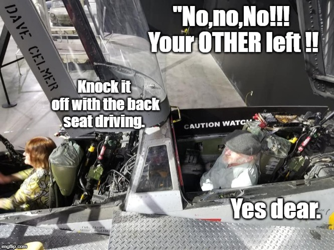 Yes dear. Knock it off with the back seat driving. | image tagged in marriage | made w/ Imgflip meme maker
