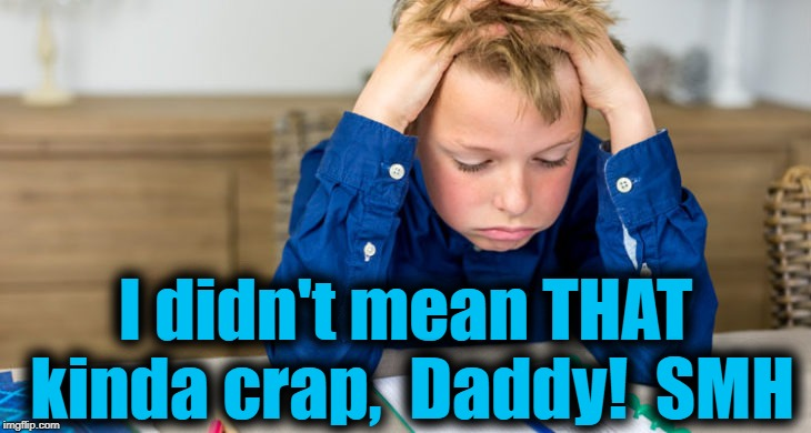 I didn't mean THAT kinda crap,  Daddy!  SMH | made w/ Imgflip meme maker
