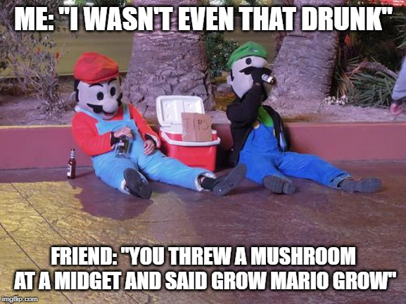 "mario and luigi drunk | ME: ""I WASN'T EVEN THAT DRUNK"" FRIEND: ""YOU THREW A MUSHROOM AT A MIDGET AND SAID GROW MARIO GROW"" 