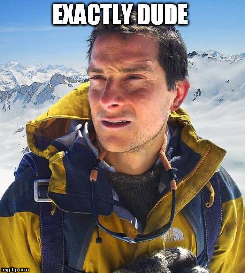 Bear Grylls Meme | EXACTLY DUDE | image tagged in memes,bear grylls | made w/ Imgflip meme maker