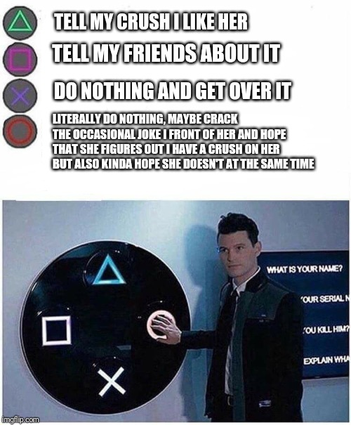 PlayStation button choices |  TELL MY CRUSH I LIKE HER; DO NOTHING AND GET OVER IT; TELL MY FRIENDS ABOUT IT; LITERALLY DO NOTHING, MAYBE CRACK THE OCCASIONAL JOKE I FRONT OF HER AND HOPE THAT SHE FIGURES OUT I HAVE A CRUSH ON HER BUT ALSO KINDA HOPE SHE DOESN'T AT THE SAME TIME | image tagged in playstation button choices | made w/ Imgflip meme maker