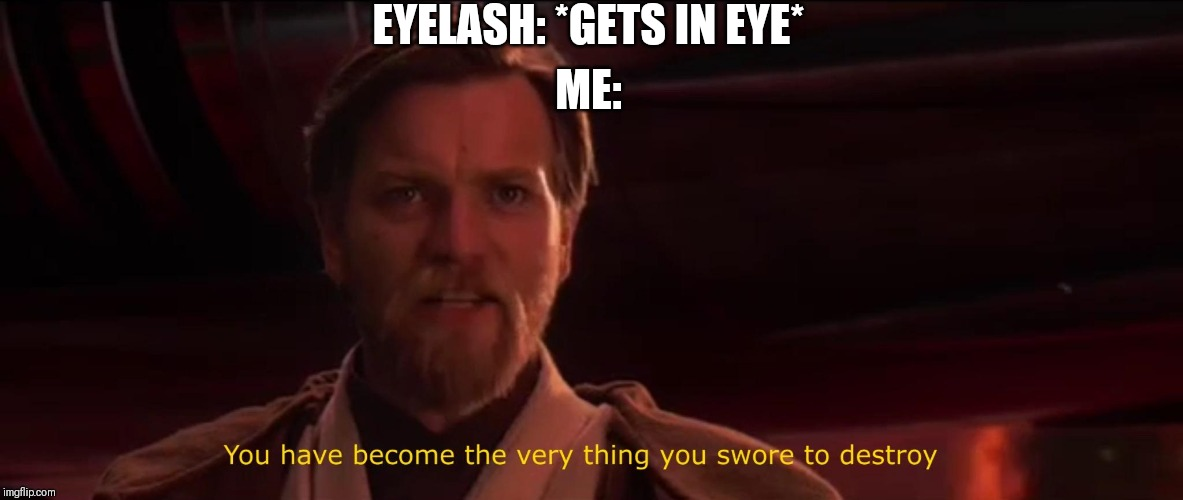 Oh the pain!  Oh the betrayal!!! | EYELASH: *GETS IN EYE* ME: | image tagged in you have become the very thing you swore to destroy,eyelash,pain,betrayal,memes,funny | made w/ Imgflip meme maker