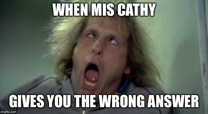 Scary Harry Meme | WHEN MIS CATHY GIVES YOU THE WRONG ANSWER | image tagged in memes,scary harry | made w/ Imgflip meme maker