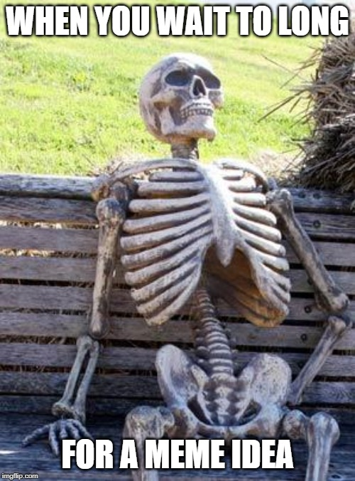 Waiting Skeleton Meme |  WHEN YOU WAIT TO LONG; FOR A MEME IDEA | image tagged in memes,waiting skeleton | made w/ Imgflip meme maker