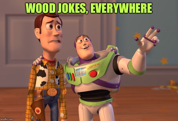 X, X Everywhere Meme | WOOD JOKES, EVERYWHERE | image tagged in memes,x x everywhere | made w/ Imgflip meme maker