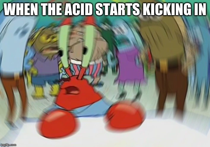 Mr Krabs Blur Meme | WHEN THE ACID STARTS KICKING IN | image tagged in memes,mr krabs blur meme | made w/ Imgflip meme maker
