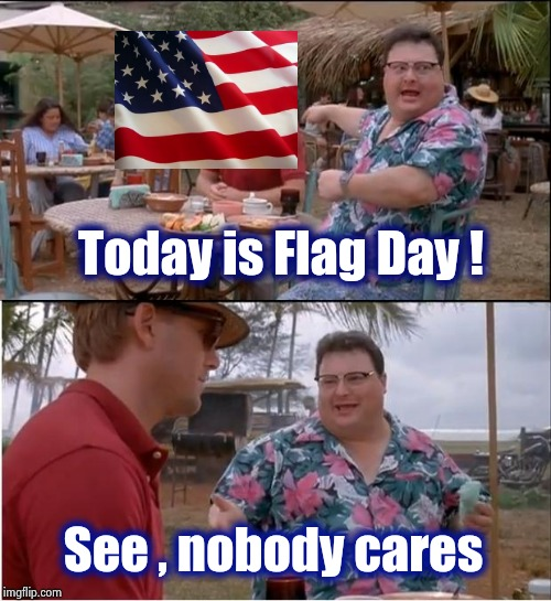 Hang up your Flag then go about your business | Today is Flag Day ! See , nobody cares | image tagged in memes,see nobody cares,american flag,holiday,a few good men,working | made w/ Imgflip meme maker