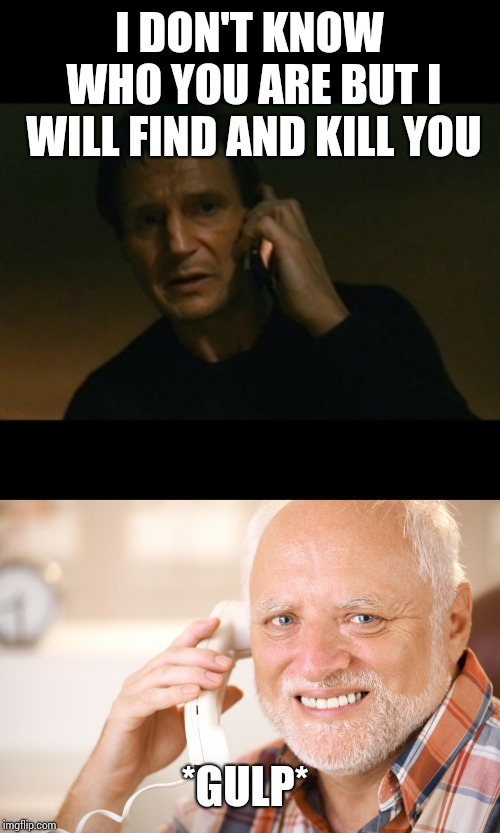 I DON'T KNOW WHO YOU ARE BUT I WILL FIND AND KILL YOU *GULP* | image tagged in memes,liam neeson taken,hide the pain harold phone | made w/ Imgflip meme maker