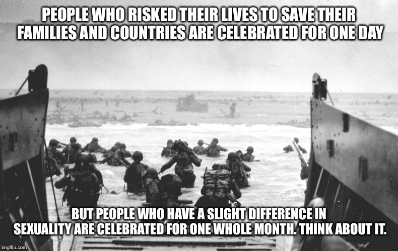 This is something that seriously pisses me off. | PEOPLE WHO RISKED THEIR LIVES TO SAVE THEIR FAMILIES AND COUNTRIES ARE CELEBRATED FOR ONE DAY BUT PEOPLE WHO HAVE A SLIGHT DIFFERENCE IN SEX | image tagged in d-day landing,memes,pride,ww2 | made w/ Imgflip meme maker