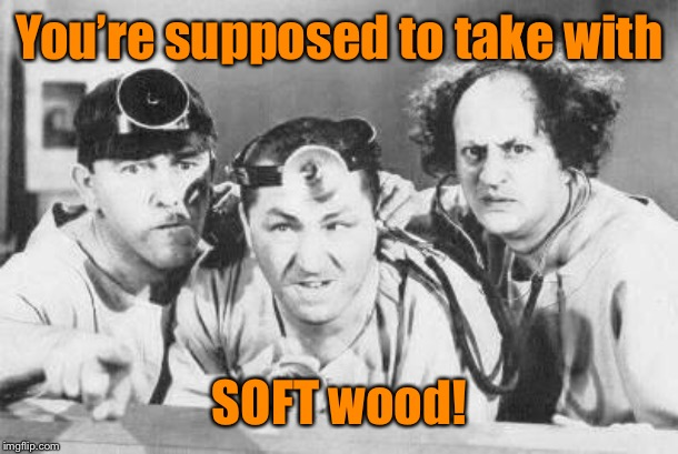 Doctor Stooges | You're supposed to take with SOFT wood! | image tagged in doctor stooges | made w/ Imgflip meme maker