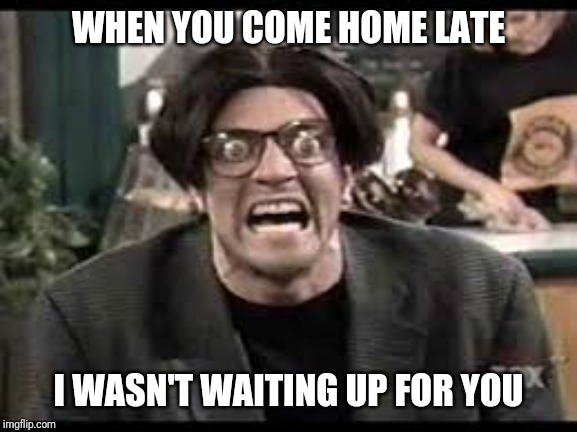 Stan mad tv |  WHEN YOU COME HOME LATE; I WASN'T WAITING UP FOR YOU | image tagged in stan mad tv | made w/ Imgflip meme maker