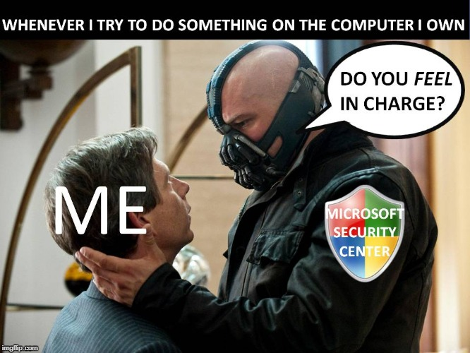 Do you feel in charge? | image tagged in batman,bane,microsoft,security guard,computer,do you feel in charge | made w/ Imgflip meme maker