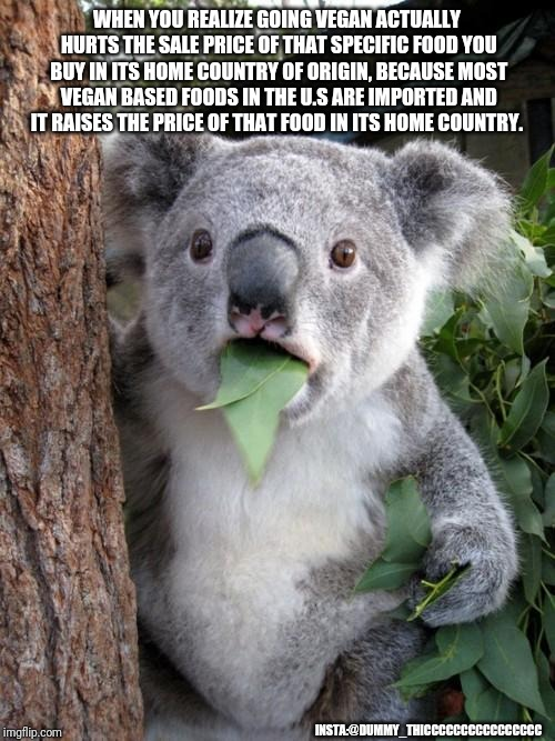 Koala rethinks food choices | WHEN YOU REALIZE GOING VEGAN ACTUALLY HURTS THE SALE PRICE OF THAT SPECIFIC FOOD YOU BUY IN ITS HOME COUNTRY OF ORIGIN, BECAUSE MOST VEGAN B | image tagged in memes,surprised koala,vegan,vegans,economics | made w/ Imgflip meme maker