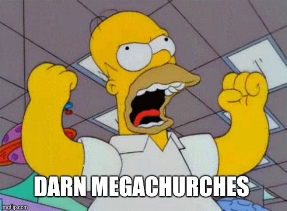 fist shaking homer | DARN MEGACHURCHES | image tagged in fist shaking homer | made w/ Imgflip meme maker