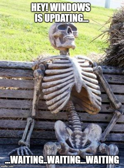 Waiting Skeleton | HEY! WINDOWS IS UPDATING... ...WAITING..WAITING...WAITING | image tagged in memes,waiting skeleton | made w/ Imgflip meme maker