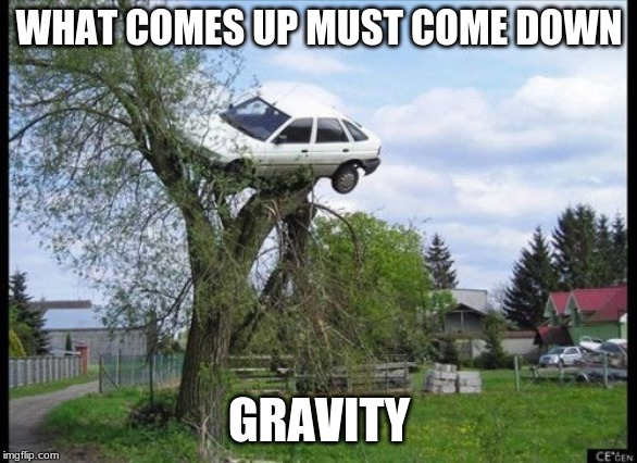 Secure Parking | WHAT COMES UP MUST COME DOWN GRAVITY | image tagged in memes,secure parking | made w/ Imgflip meme maker
