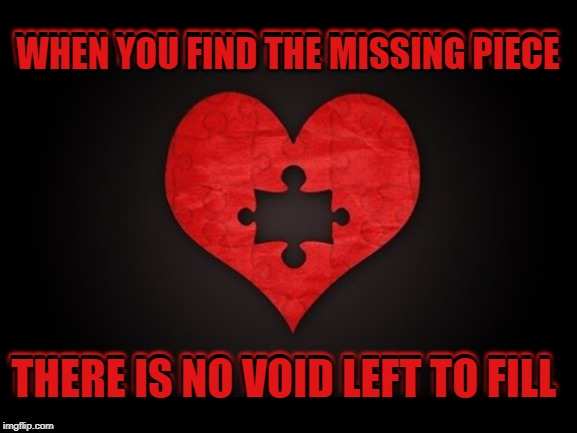 Truth. | WHEN YOU FIND THE MISSING PIECE THERE IS NO VOID LEFT TO FILL WHEN YOU FIND THE MISSING PIECE THERE IS NO VOID LEFT TO FILL | image tagged in nixieknox,memes,addiction | made w/ Imgflip meme maker