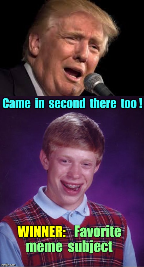 MEOW ... (no cats) | Came  in  second  there  too ! WINNER: Favorite meme  subject | image tagged in memes,bad luck brian,donald trump sad,rick75230,meow | made w/ Imgflip meme maker