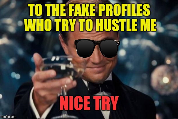 Leonardo Dicaprio Cheers | TO THE FAKE PROFILES WHO TRY TO HUSTLE ME NICE TRY | image tagged in memes,leonardo dicaprio cheers | made w/ Imgflip meme maker