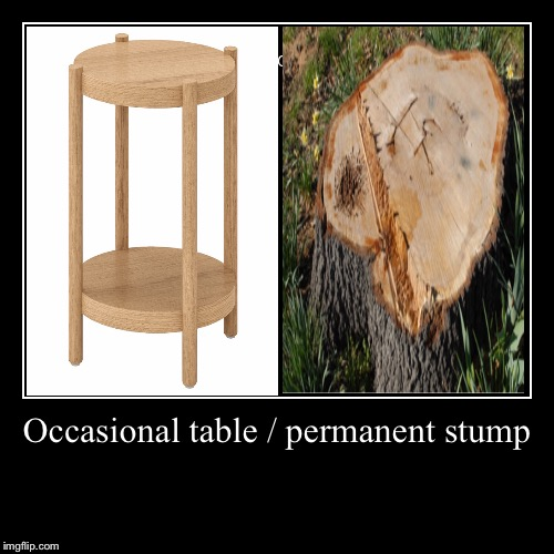 A saw point. | Occasional table / permanent stump | | image tagged in funny,demotivationals,deforestation,word play | made w/ Imgflip demotivational maker