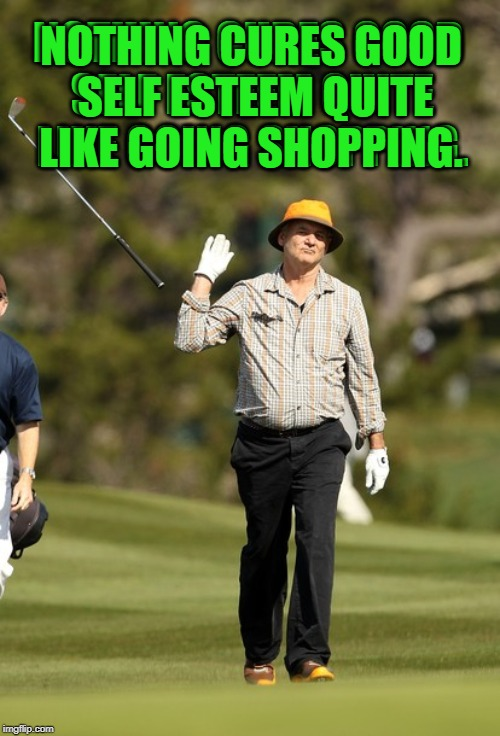 Full length mirrors are the devil! |  NOTHING CURES GOOD SELF ESTEEM QUITE LIKE GOING SHOPPING. NOTHING CURES GOOD SELF ESTEEM QUITE LIKE GOING SHOPPING. | image tagged in memes,bill murray golf,nixieknox | made w/ Imgflip meme maker