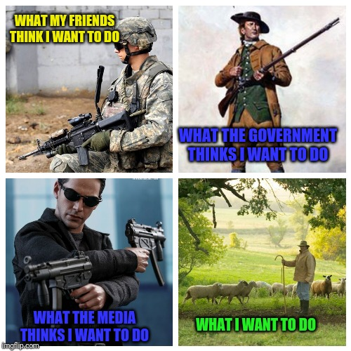 Freedom to do the right thing | WHAT MY FRIENDS THINK I WANT TO DO WHAT THE MEDIA THINKS I WANT TO DO WHAT THE GOVERNMENT THINKS I WANT TO DO WHAT I WANT TO DO | image tagged in 2nd amendment,gun rights,2a | made w/ Imgflip meme maker