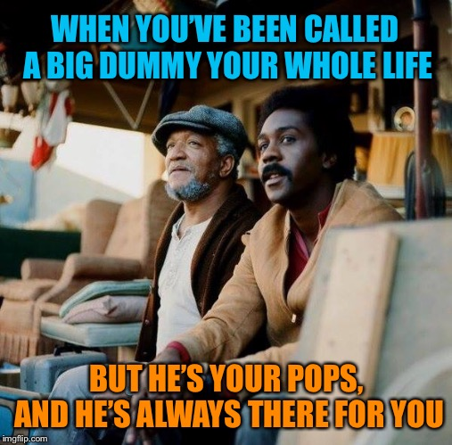 Happy Father's Day! | WHEN YOU'VE BEEN CALLED A BIG DUMMY YOUR WHOLE LIFE BUT HE'S YOUR POPS, AND HE'S ALWAYS THERE FOR YOU | image tagged in sanford and son,fathers day,memes | made w/ Imgflip meme maker