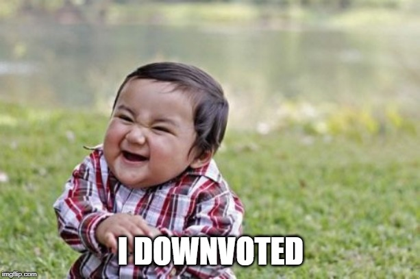 I DOWNVOTED | image tagged in memes,evil toddler | made w/ Imgflip meme maker
