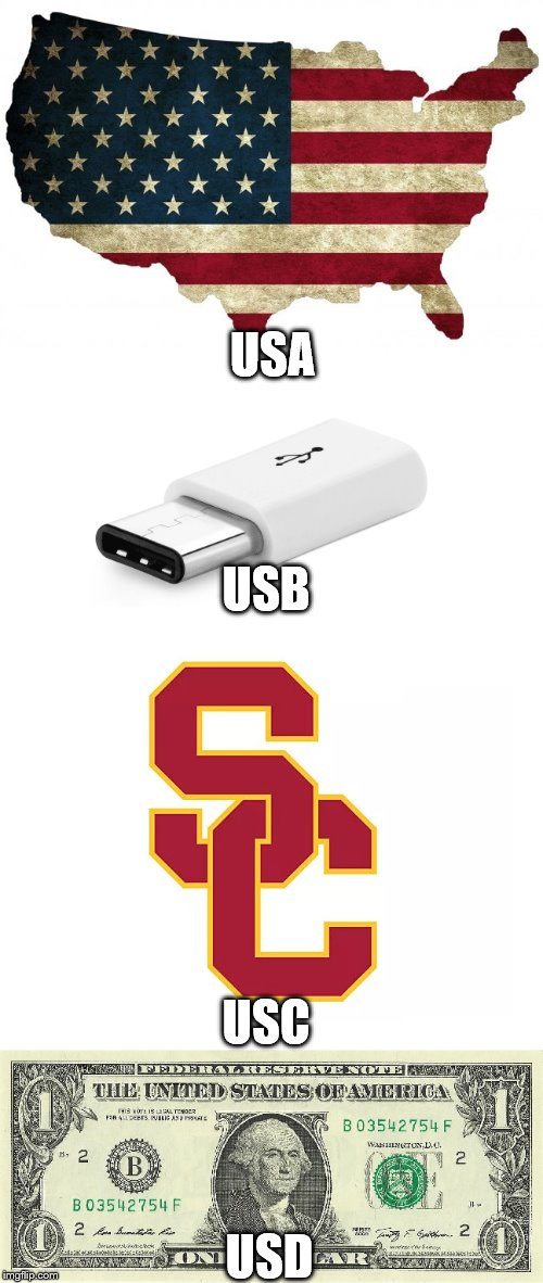 Continue the chain in the comments, if you so choose! | USA USD USB USC | image tagged in usa,funny | made w/ Imgflip meme maker