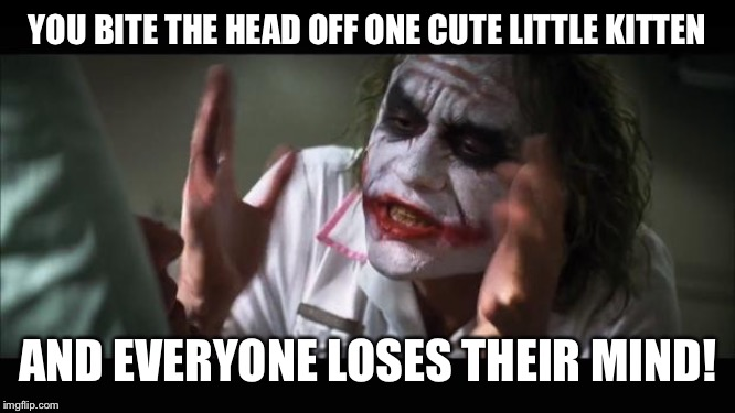 And everybody loses their minds | YOU BITE THE HEAD OFF ONE CUTE LITTLE KITTEN AND EVERYONE LOSES THEIR MIND! | image tagged in memes,and everybody loses their minds | made w/ Imgflip meme maker