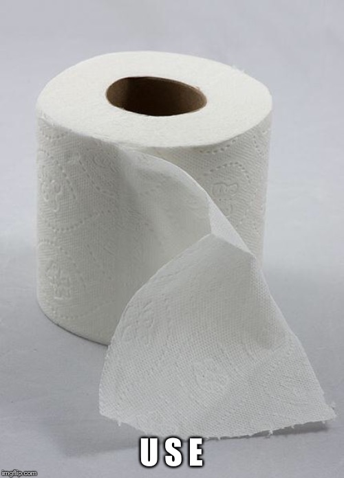 toilet paper | U S E | image tagged in toilet paper | made w/ Imgflip meme maker
