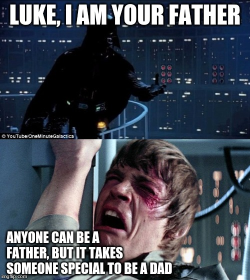 darth vader luke skywalker | LUKE, I AM YOUR FATHER ANYONE CAN BE A FATHER, BUT IT TAKES SOMEONE SPECIAL TO BE A DAD | image tagged in darth vader luke skywalker | made w/ Imgflip meme maker