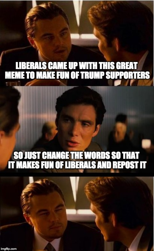 Inception Meme | LIBERALS CAME UP WITH THIS GREAT MEME TO MAKE FUN OF TRUMP SUPPORTERS SO JUST CHANGE THE WORDS SO THAT IT MAKES FUN OF LIBERALS AND REPOST I | image tagged in memes,inception | made w/ Imgflip meme maker