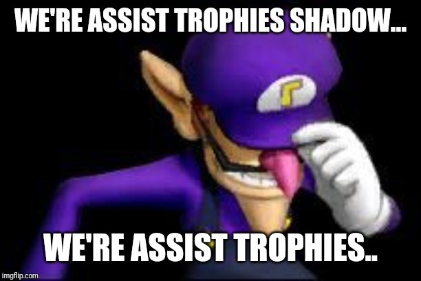 Waluigi sad | WE'RE ASSIST TROPHIES SHADOW... WE'RE ASSIST TROPHIES.. | image tagged in waluigi sad | made w/ Imgflip meme maker