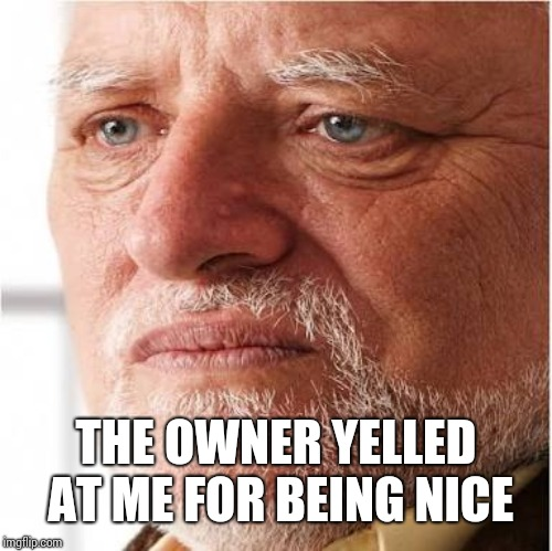 Harold sad | THE OWNER YELLED AT ME FOR BEING NICE | image tagged in harold sad | made w/ Imgflip meme maker