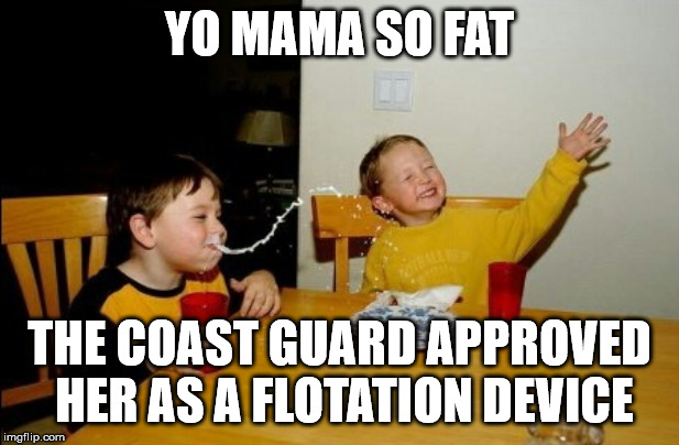 Yo Mamas So Fat |  YO MAMA SO FAT; THE COAST GUARD APPROVED HER AS A FLOTATION DEVICE | image tagged in memes,yo mamas so fat | made w/ Imgflip meme maker