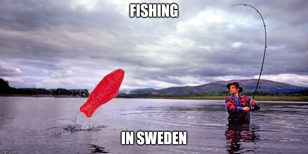 FISHING IN SWEDEN | image tagged in fishing,funny,swedish fish | made w/ Imgflip meme maker