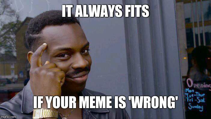 Roll Safe Think About It Meme | IT ALWAYS FITS IF YOUR MEME IS 'WRONG' | image tagged in memes,roll safe think about it | made w/ Imgflip meme maker