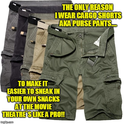 Cargo Shorts -- Sneaking In Your Own Snacks Forever : Sneaking In Snacks Level : EXPERT | THE ONLY REASON I WEAR CARGO SHORTS AKA PURSE PANTS.... TO MAKE IT EASIER TO SNEAK IN YOUR OWN SNACKS AT THE MOVIE THEATRE`S LIKE A PRO!! | image tagged in funny memes,movies,snacks | made w/ Imgflip meme maker