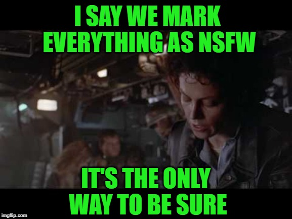 Aliens-Ellen Ripley-Nuke The Entire Site From Orbit | I SAY WE MARK EVERYTHING AS NSFW IT'S THE ONLY WAY TO BE SURE | image tagged in aliens-ellen ripley-nuke the entire site from orbit | made w/ Imgflip meme maker