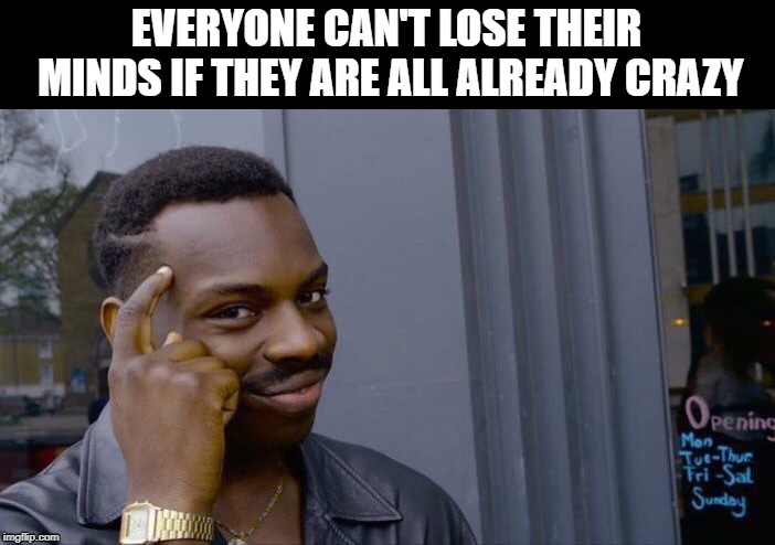 Roll Safe Think About It | EVERYONE CAN'T LOSE THEIR MINDS IF THEY ARE ALL ALREADY CRAZY | image tagged in memes,roll safe think about it | made w/ Imgflip meme maker
