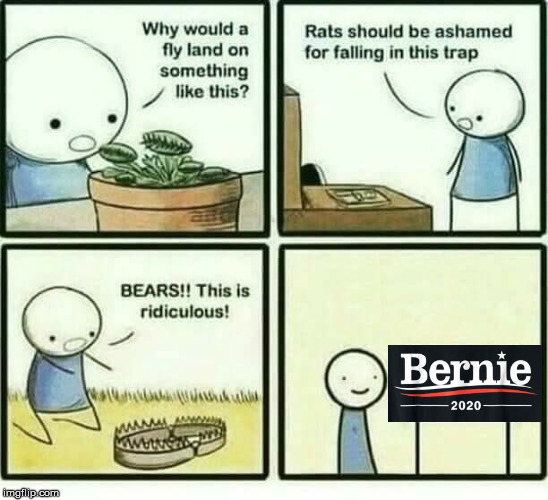 image tagged in trap,bernie sanders | made w/ Imgflip meme maker