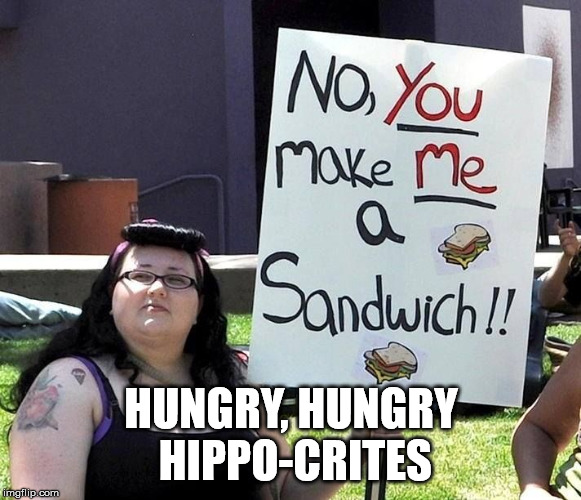 New from Milton Bradley |  HUNGRY, HUNGRY HIPPO-CRITES | image tagged in fat feminist,memes | made w/ Imgflip meme maker