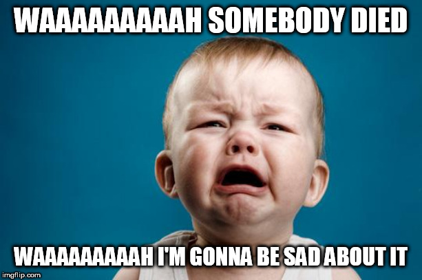 BABY CRYING | WAAAAAAAAAH SOMEBODY DIED WAAAAAAAAAH I'M GONNA BE SAD ABOUT IT | image tagged in baby crying,death,baby,whiny,dying,cry | made w/ Imgflip meme maker